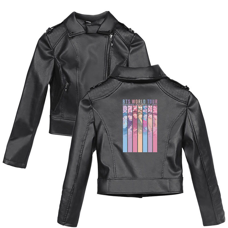 2019 Bulletproof youth league Surrounding   leather   jacket women zipper Short paragraph LOVE YOURSELF printing PU black coats