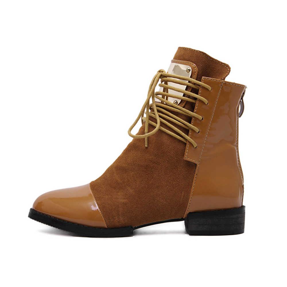 dcea68be6 ... Женские сапоги из натуральной кожи ботинки Martin на плоской подошве  женские мотоботы сезон осень-зима ...
