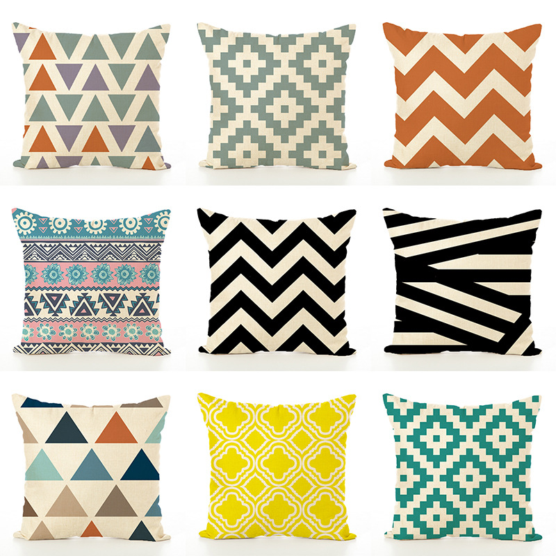 Geometric Cushion Set Creative Simple Office Linen Pillowcase Modern Style Cushion Cover  Decorations For Home