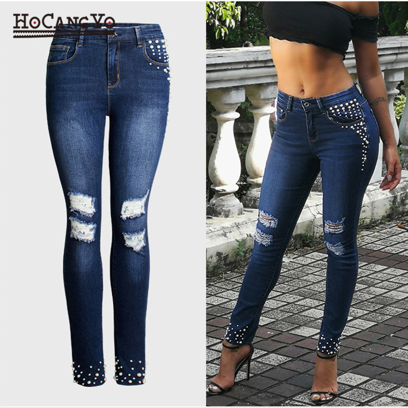 HCYO Fashion Hole Ripped   Jeans   Women High Waist Pants Embroidered Flares Stretch Skinny   Jeans   Women Casual Denim Pencil Pants