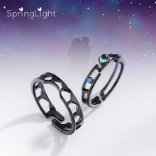 SpringLight Black Ring Blue Bright Zircon Real 925 Silver Fine Jewelry Vintage Venice Lovers Couple Rings for Women Girls Gift