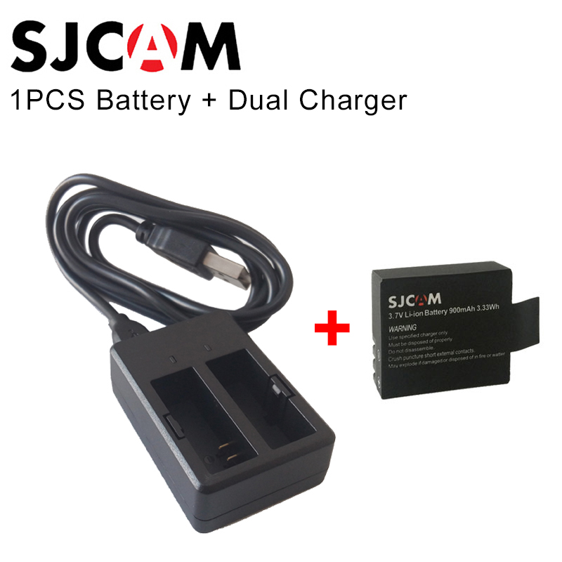 1PCS SJCAM Brand Battery + SJCAM Dual Charger For SJ4000 WiFi SJ5000 WiFi Plus M10 SJ5000x SJCAM Action Camera