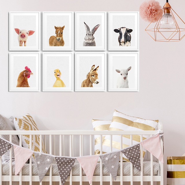 Farm Animal Nursery Canvas Painting Bunny Wall Art Baby Posters And Prints Picture For