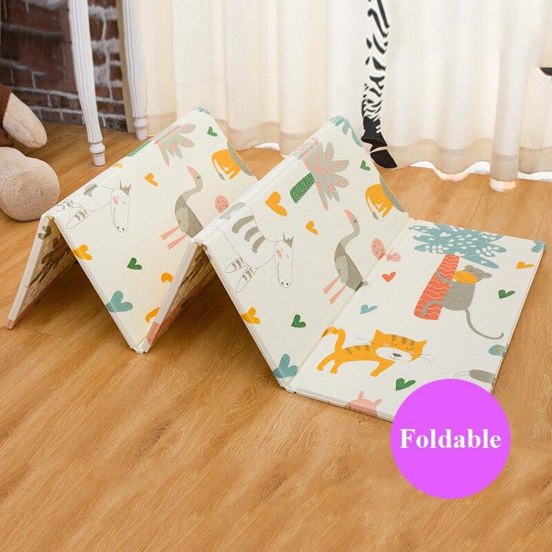 Infantile Brillant Pliable Bébé Tapis de Jeu 200X180 cm Grand Tapis de Bande Dessinée Puzzle Escalade Tapis Tapis 1 cm Épaisseur