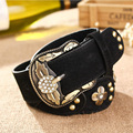 New Genuine Leather Women Belt Fashion Set Crystals 100% Cowhide Leather Belt For Women Wear Range 78-88CM