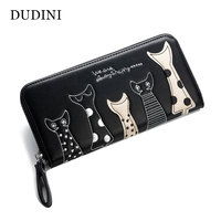 New Europe Women Cat Cartoon Wallet Long Creative Female Card Holder Casual Zip Ladies Clutch PU
