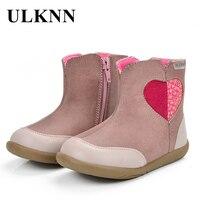 ULKNN Kids Boots Girls Winter Warm Children Boots Autumn Lovely Pink Heart Fashion Round Toe Soft