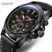 OLEVS Grand Visage Watchwrist Hommes D'affaires Top Marque Bracelet En Cuir Quartz Étanche Militaire Horloge Mâle Chronographe Montres M6868
