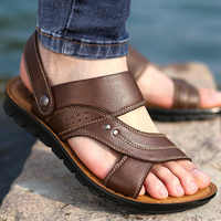 HEE GRAND Men Slippers Genuine Leather Luxury Slides Beach Casual Sandals Summer Male Fashion Outdoor Leisure Creepers XMT306