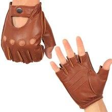 Gants en cuir véritable pour homme à la moitié du doigt, gants de conduite, sans doublure, en peau de mouton, gants de Fitness, NAN7 5