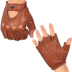 Męskie pół palca prawdziwe skórzane rękawiczki jazdy bez podszewki kożuch rękawiczki bez palców rękawiczki bez palców rękawiczki do ćwiczeń NAN7 5 Rękawiczki męskie Dodatki do odzieży -