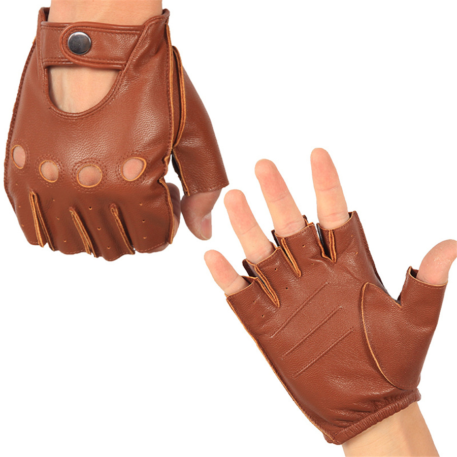 Men's Half Finger Real Leather Gloves Driving Unlined Sheepskin Fingerless Gloves Fingerless Gloves Fitness Gloves NAN7-5