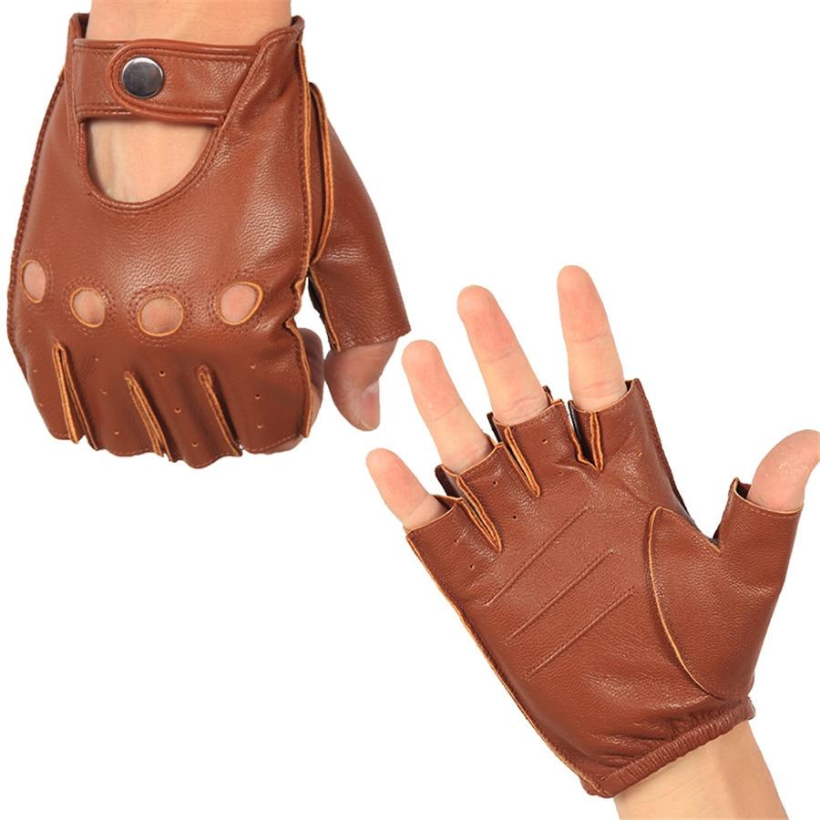 Men's Half Finger Real Leather Gloves Driving Unlined Sheepskin Fingerless Gloves Fingerless Gloves Fitness Gloves NAN7-5