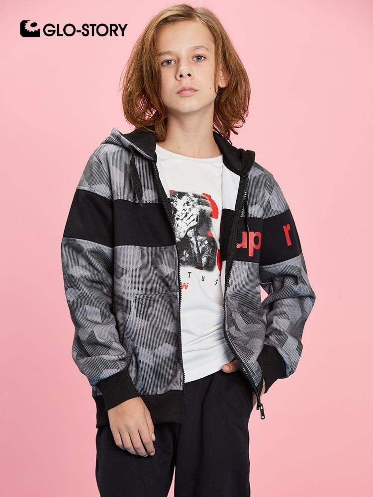 GLO-STORY 2019 New Spring Children's Modis Letter Patchwork Geometric Sweatshirt for A Boy Kids Hoodies Zipper Fly BPU-8257