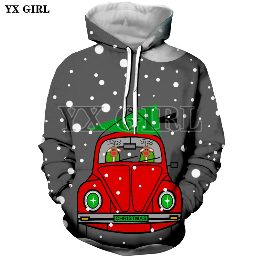 YX GIRL 3D Print Funny Christmas Mens Hoodies Sweatshirt With Hat Pocket Men Autumn Spring Tracksuit Pullover Dropshipping in Hoodies amp Sweatshirts from Men 39 s Clothing