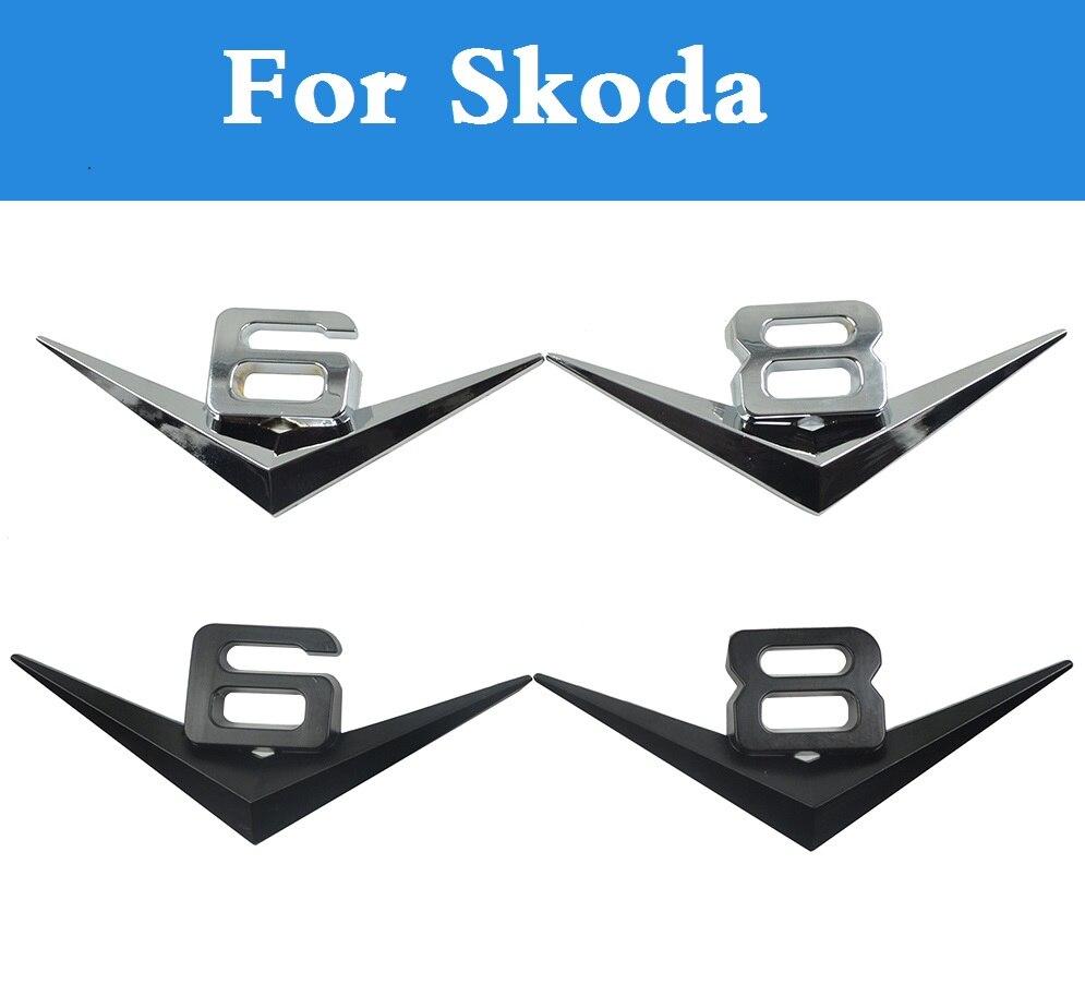 Metal Car stickers ABS V6V8 Emblem badge side fender badge for Skoda Citigo Fabia Fabia RS Octavia Octavia RS Rapid Superb Yeti