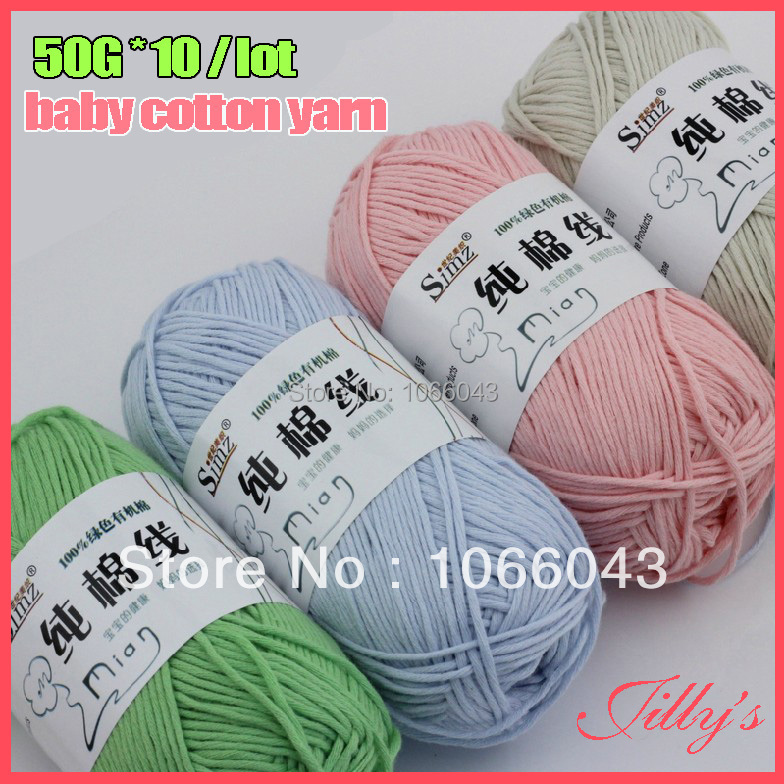 ᗐ50 g/pc (10 bolas/Lot 500g) 100% algodón bebé tejer Hilado/tejido ...