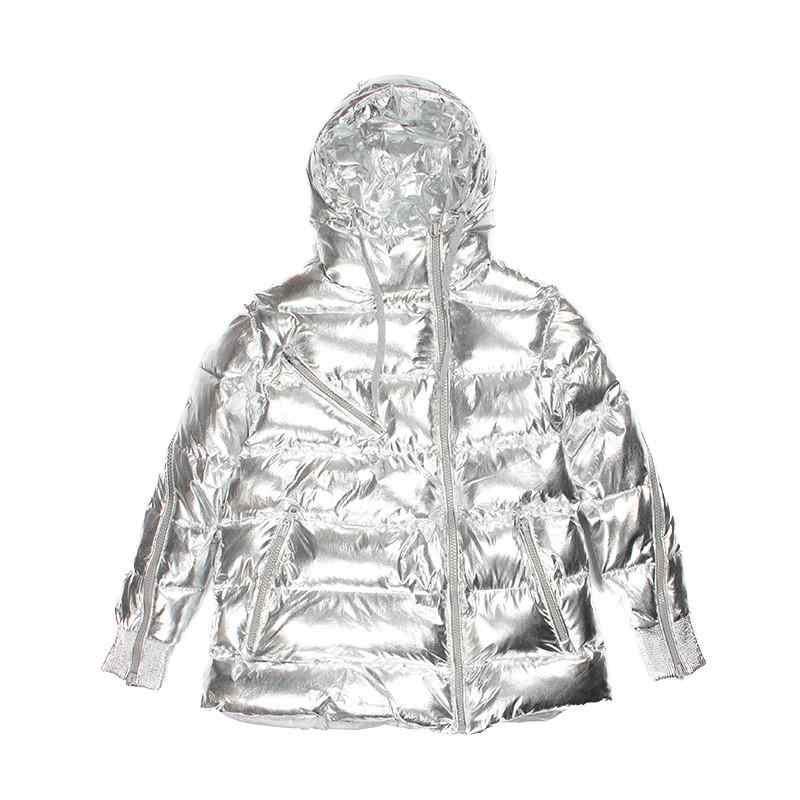 Женское зимнее пальто 2019 с капюшоном из металла и серебра, женское утепленное пальто с хлопковой подкладкой, парки, женские свободные куртки, верхняя одежда 156