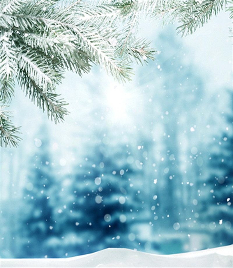 5x7 White Snow Falling Photography Backdrop Background