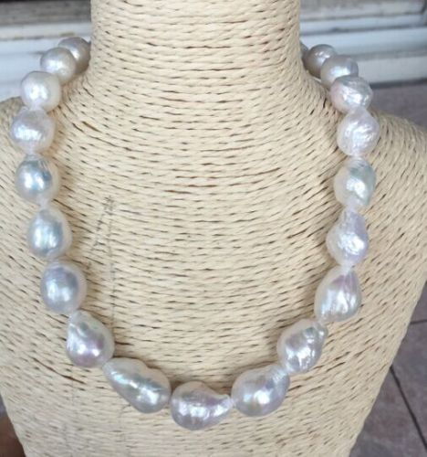 baroque 18 16X14 MM SOUTH SEA NATURAL White PEARL NECKLACE 925silver GOLD CLASP huge elegant 15 mm freshwater black pearl necklace 18 inch 925silver clasp