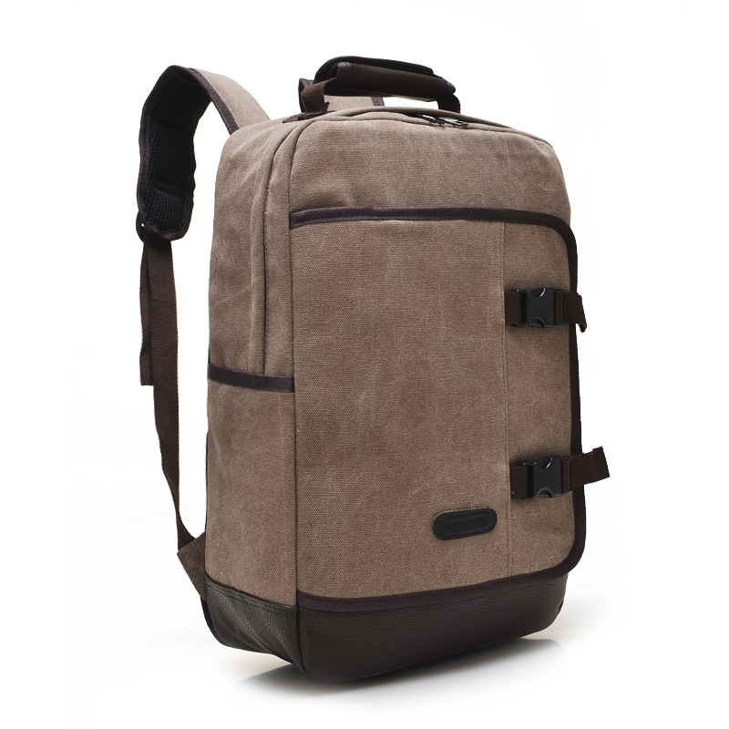 ФОТО SmartNee High-quality canvas backpack men's shoulders solid color large-capacity leisure multi-purpose travel shoulder bag