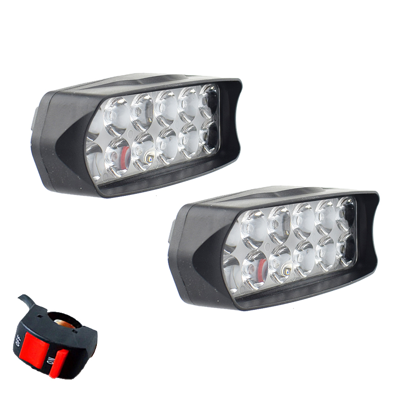 Motorcycle Spotlights LED 12v 18w 6000k Headlights Car Work Head Lamp Fog Spot Lights Scooter Auxiliary Driving Lamp Accessories