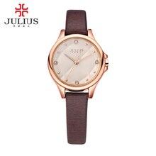 Dame montre – Bracelet à Quartz femmes heures New mode strass damier robe Bracelet en cuir fille d'anniversaire cadeau Julius 882
