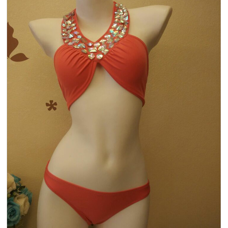 2018 New Rhinestone Diamond Luxury Sexy Swimsuit Women Bikini Set Crystal Swimwear Women Bathing Suit maillot de bain femme brand new 2018 luxury rhinestone sexy