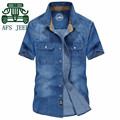 AFS JEEP Classical Design Man's Original Brand Denim Shirt 2016 Summer, Short Sleeve Cotton Solid Street Style Fashion Shirt