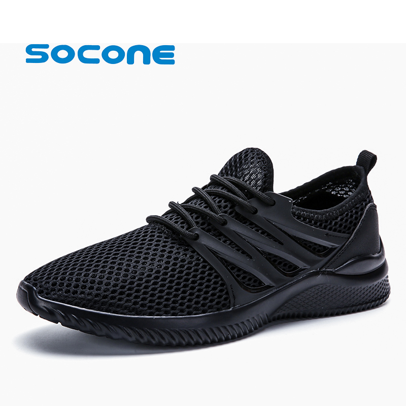 SOCONE 2018 New Summer Mens Sport Shoes Breathable Light Running Shoes Lace Up Outdoor Training Sneakers sportschoenen heren