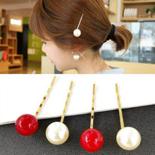 1 Pcs Red and White Pearl Hair Clip Woman Hairpins Styling Tools Hair Section Claw Clamps Pro Salon Hair Pins Accessories(China)