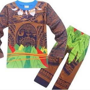 Image 2 - Moana Maui Costume Boys Pyjama Sets Nightwear Sleepwear Long Sleeve 3 10 Years Teen Kid Child t Skirt Clothes Bathrobe Cartoon