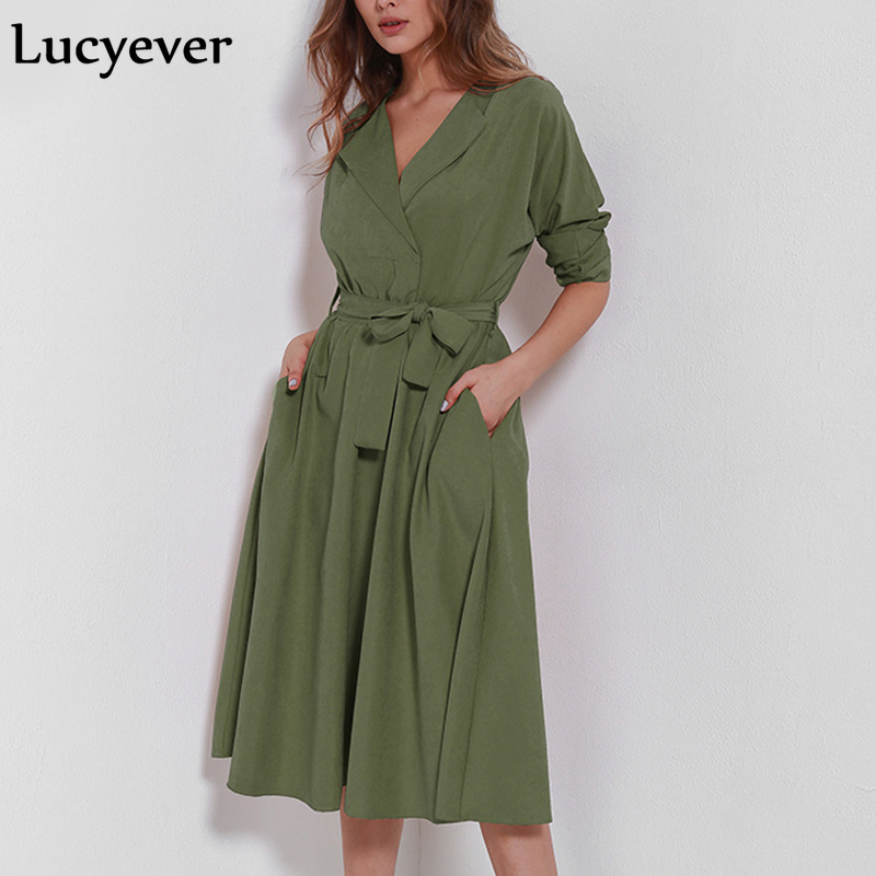 Lucyever 2019 spring High Fashion Women's suede velvet   trench   solid long sleeve casual dress coat with belt long ladies outwear