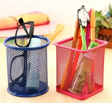 1PC Hollow Metal Pencil Pen Holder Storage Box Stand Manage Case Student Stationery Household Organizer LF 023
