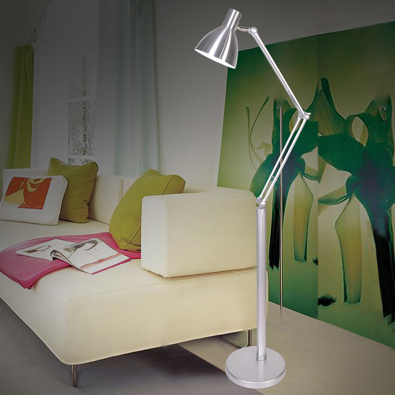 Simple Modern Stainless Steel Foldable Floor Lamp Light With E27 Bulbs Alloy Stand Reading Lamp Lambader For Living Room/Bedroom vik max adult kids dark blue leather figure skate shoes with aluminium alloy frame and stainless steel ice blade