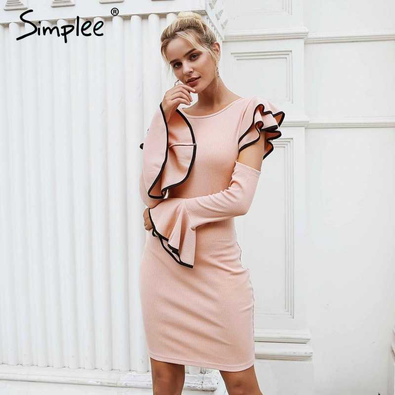 Женское осенне-зимнее трикотажное платье Simplee, сексуальное облегающее элегантное платье с вырезами на плечах, оборками, круглым вырезом и расклешенными рукавами, уличная одежда