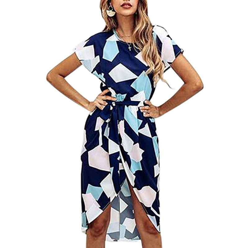 Women 39 s Summer Dress V Neck Short Sleeve Geometric Square Print Dress Ladies Casual Vacation summer dress in Dresses from Women 39 s Clothing