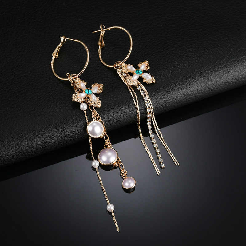 Terreau Kathy Women Fashion Accessories Vintage Earrings Charm Asymmetry Cross Simulated Pearl Jewelry Long Chain Tassel Earring