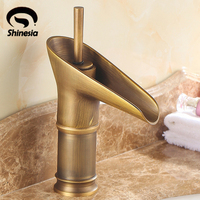 Euro Style Tall Antique Brass Waterfall Bathroom Vessel Sink Basin Faucet Tap