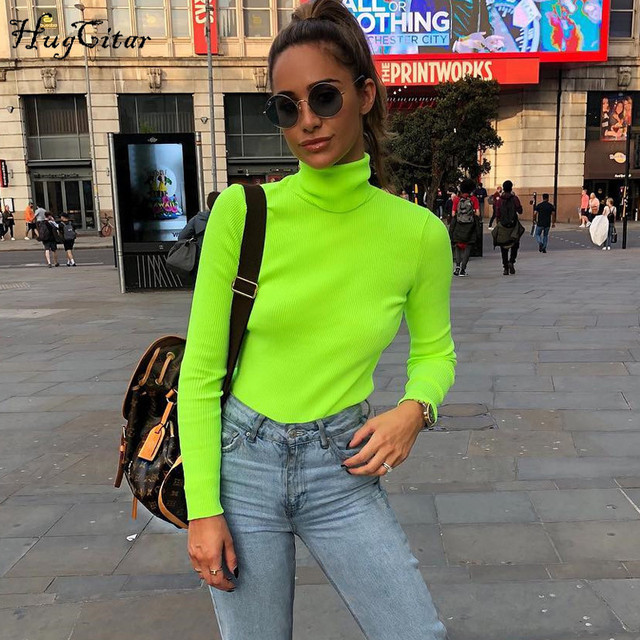 Hugcitar long sleeve high neck bodycon green solid tops 2018 autumn winter women fashion streetwear casual T-shirts