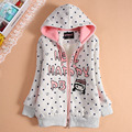 Female child plus velvet sweatshirt clothing zipper sweater thickening outerwear child  autumn and winter