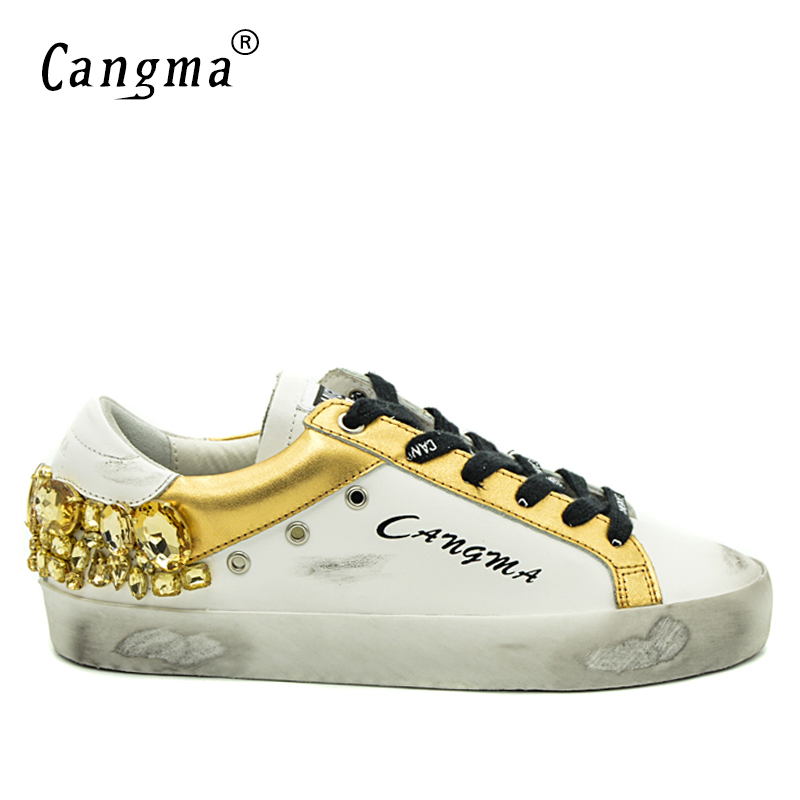 CANGMA Original Brand Gold Rhinestones Men Sneakers Shoes White Diamond Genuine Leather Bass Breathable Casual Man Shoes Crystal cangma italy deluxe brand original women men golden shoes bass brown genuine leather sstar goose shoes scarpe casual uomo zapato