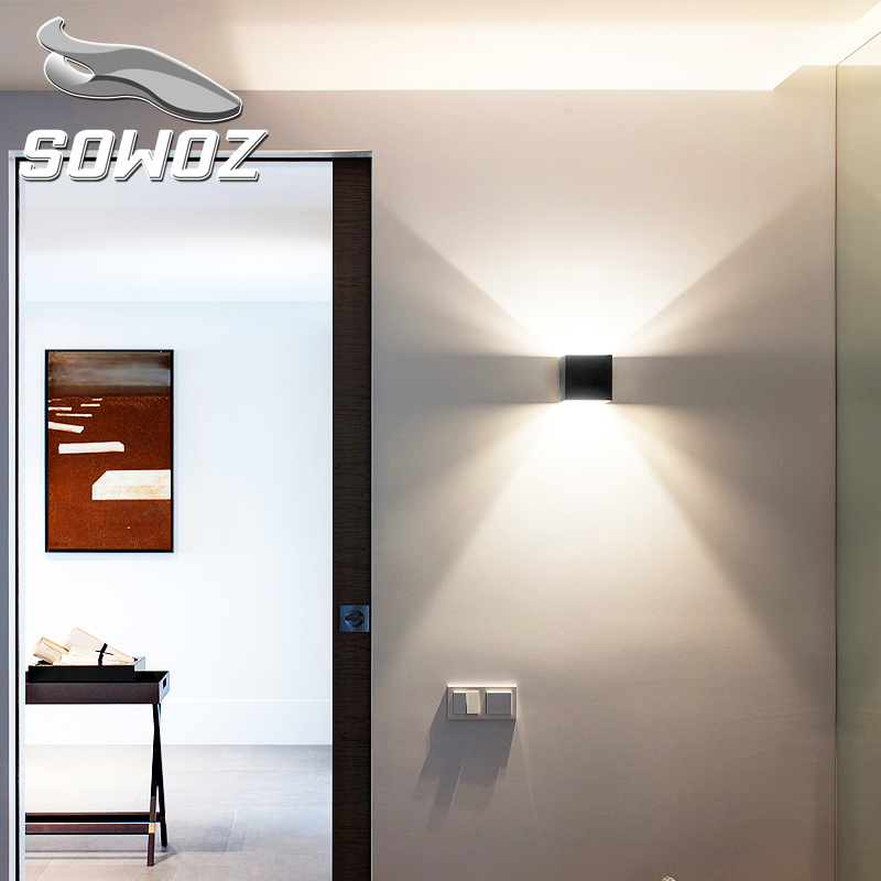 SOWOZ 12W LED Aluminium wall light rail project Square LED wall lamp bedside room bedroom wall lamps arts BD75