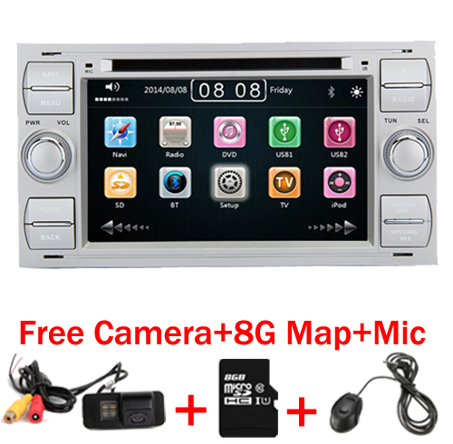 2 Din 7 Inch Car DVD Player For Ford Focus Kuga Transit With 3G GS Bluetooth Radio RDS USB SD Steering wheel control Free Map