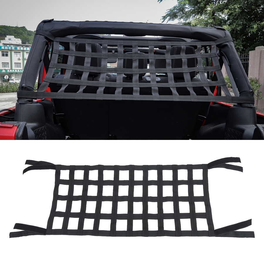 YCCPAUTO 1Pcs Black Vehicle Top Roof Hammock Bed Network Rest SunShade Net Cover For Jeep Wrangler TJ JK 1997-2018 Car Styling