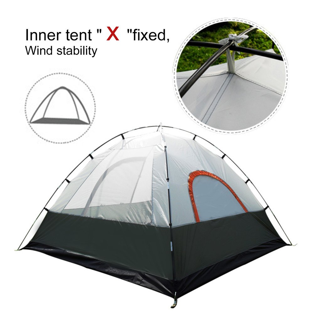 3-4 personne Coupe-Vent Tente de Camping Double Couche Imperméable Ouvert Anti-uv Touristique Tentes Pour La Randonnée En Plein Air Plage Voyage Tienda - 4