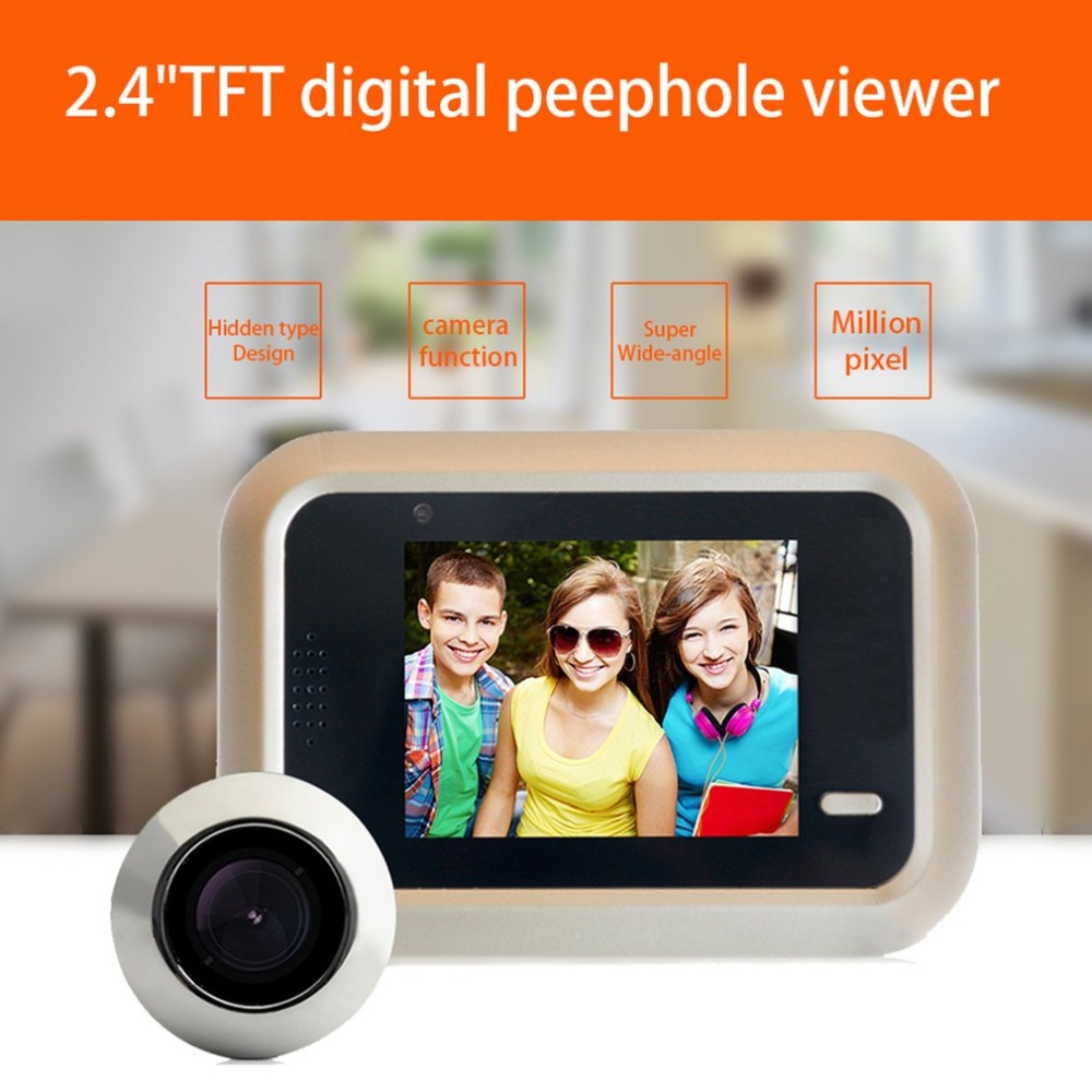 Door Peephole 1MP HD Electronic Cat Eye 2.4 Inch TFT Color Screen Display 160 Degree Wide Angle Home Smart Doorbell x5 home smart doorbell security door peephole camera electronic cat eye and hd pixels tft color screen display audio door bell