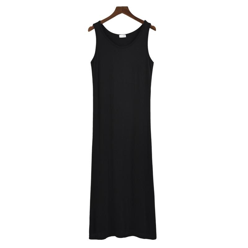 New Sleeveless Ladies Basic Sleep Shirt Sexy Lingerie Solid Long Nightgown Modal Sleepwear Summer Loose Nighty Nightdress M-XXL