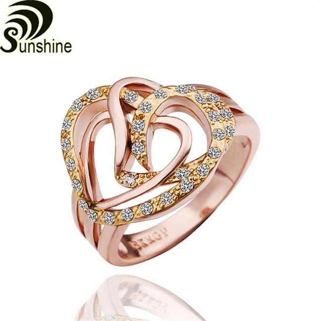 R261 romantic heart shaped round 18K rose gold plated ring