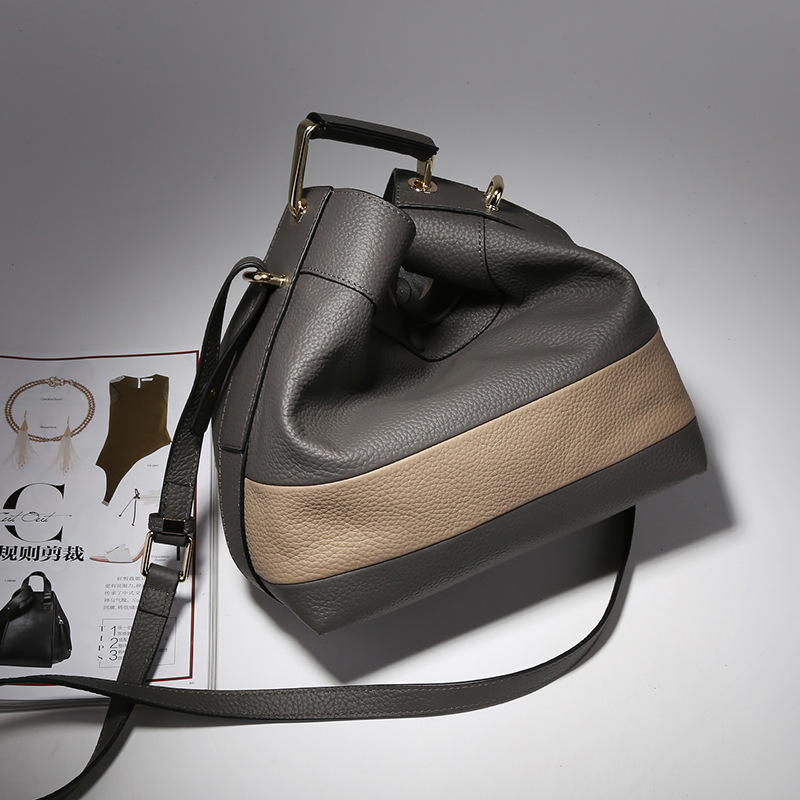 ФОТО genuine leather bag messenger bag small bucket bag beer big strap you bag women 2017 shoulder bags black grey red high quality